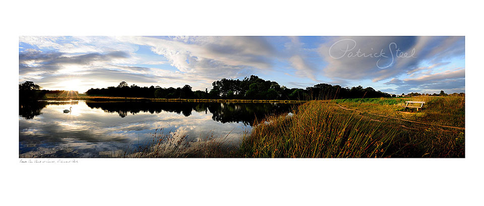 Photograph of Lower pen Pond at sunset, Richmond Park